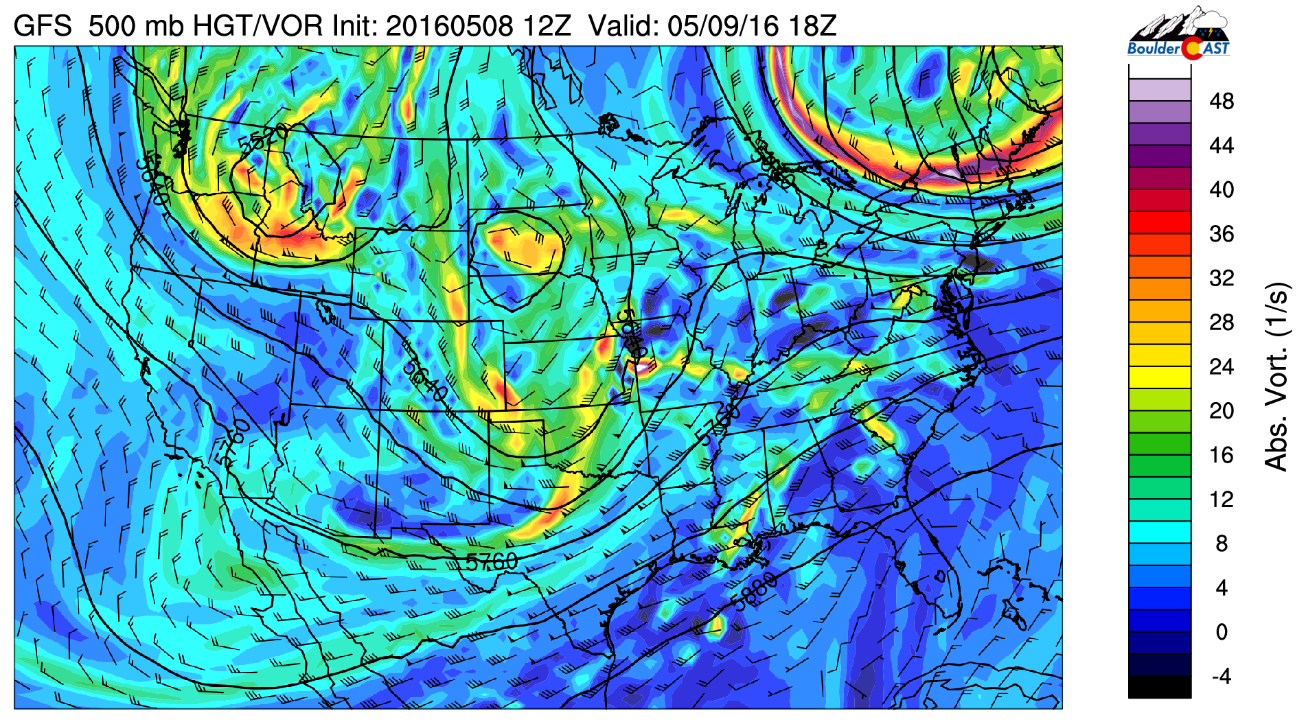 500 mb vorticity from the GFS for Monday