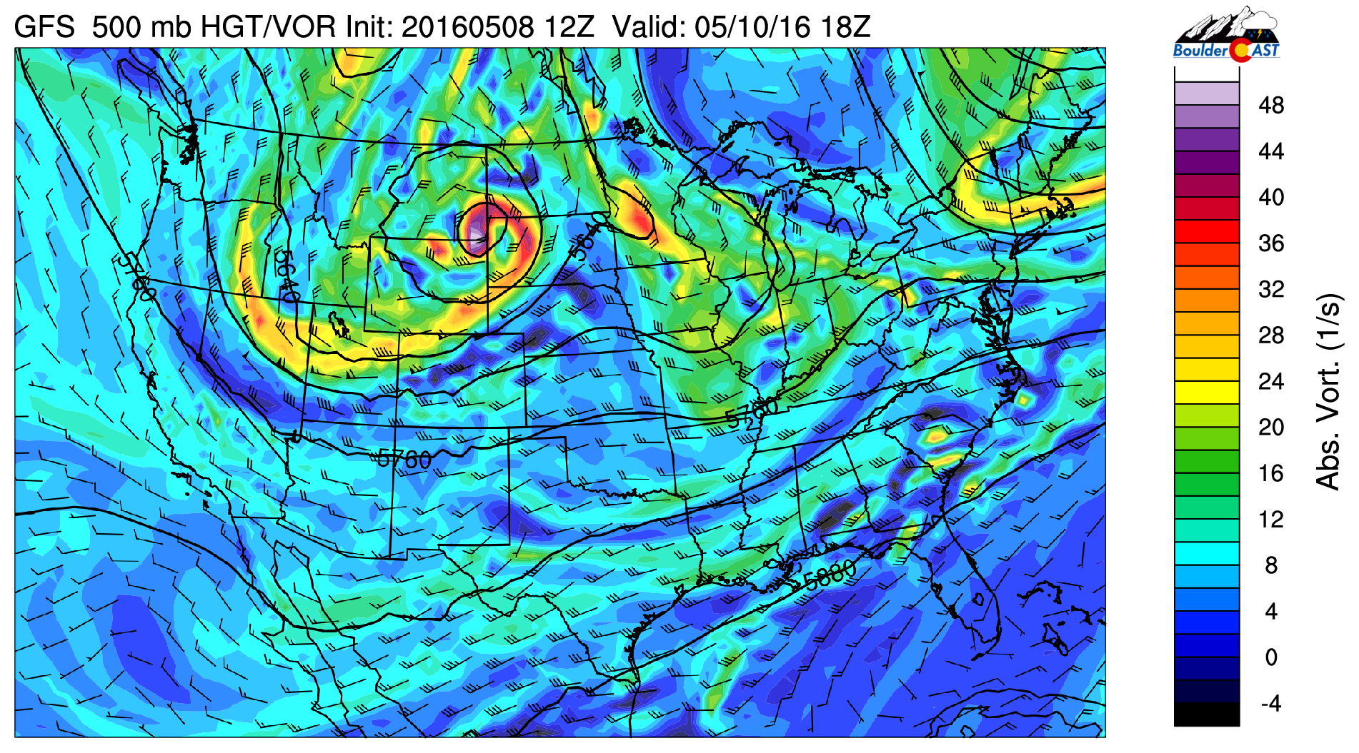 500 mb vorticity from the GFS for Tuesday