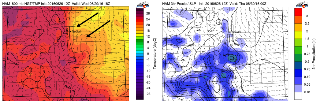 NAM 800 mb temperature (left) and 3-hourly precipitation (right) for Wednesday